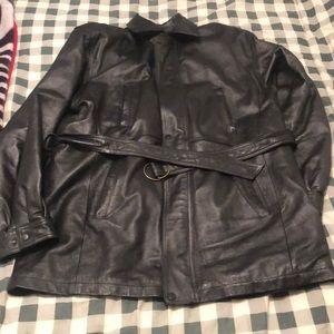 Woulda men's black leather jacket